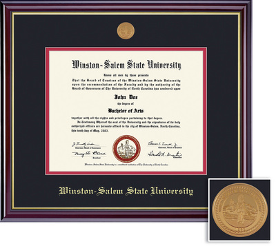 Framing Success Windsor Medallion Diploma, Double Mat high gloss cherry coating gold inner bevel