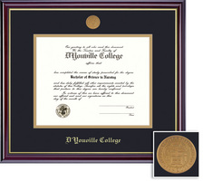 Framing Success Windsor Medallion Doc Diploma, Double Mat high gloss cherry coating gold inner bevel
