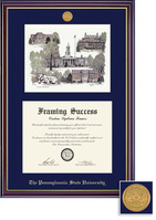 Framing Success Windsor Medallion DiplomaLitho, Double Mat high gloss cherry finish