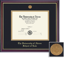 Framing Success Windsor Law Diploma, Double Mat in highgloss cherry finish with gold inner bevel