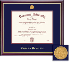 Framing Success Windsor BAMA Mdl Diploma, Dbl Mat in highgloss cherry finish with gold inner bevel