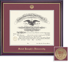 Framing Success Windsor Mdl Diploma, Double Mat in highgloss cherry finish w gold inner bevel