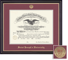 Framing Success Prestige Medallion Diploma, Double Mat satin black with beautiful gold accents