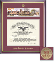 Framing Success Windsor Medallion DiplomaLitho, Double Mat high gloss cherry gold inner bevel