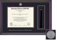 Framing Success Jeff BAMAPhD Medallion DipTassel, Double Mat gloss cherry silver inner bevel