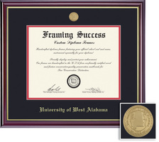 Framing Success Windsor Mdl Dip, Dbl Mat in a highgloss cherry finish w gold inner bevel