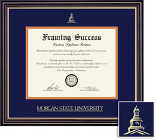 Framing Success Prestige BAMA Diploma, Double Mat in satin black finish gold accents