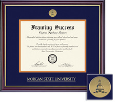 Framing Success Windsor PhD Diploma Medallion Double Mat high gloss cherry finish gold inner bevel