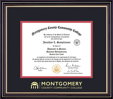 Framing Success Prestige Diploma, Dbl Mat in a satin black finish with gold accents