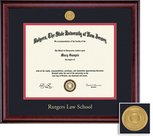 Framing Success Classic (2016Pres) Medallion Law Diploma, Double Mat rich burnished cherry finish