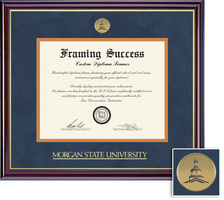Framing Success Windsor PhD Mdl Diploma , Double Mat high gloss cherry gold inner bevel