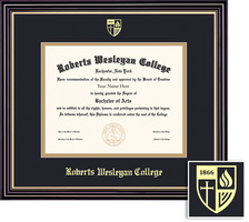 Framing Success Prestige (1017Pres) Diploma, double mat in a satin black finish with gold accents