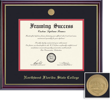 Framing Success Windsor Mdl Diploma, Dbl Mat in a highgloss cherry finish with a gold inner bevel