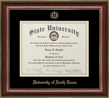 Jostens Classic BA MA diploma frame in Mahogany with Gold Trim