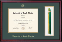 Framing Success Classic Double Matted Diploma & Tassel Frame, Burnished Cherry Finish. Bachelors