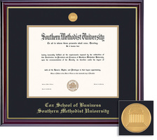 Framing Success BA Business Windsor Mdl Dip, Dbl Mat in high gloss cherry finish & gold inner bevel