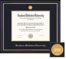 Framing Success MA, PhD Prestige Mdl Diploma, Dbl Mat in satin black finish with gold accents