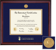Framing Success Classic Diploma Frame with Medallion, Dbl Matted, Burnished Cherry Finish, Bachelors