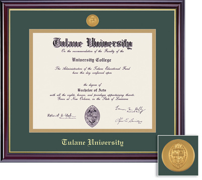 Framing Success Windsor Mdl BA Diploma Frame. Double Matted in Gloss Cherry Finish, Gold Trim