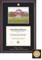 Framing Success BA Dedman Litho Windsor Mdl Dip, Dbl Mat in high gloss cherry finish & gold bevel