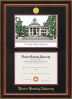 Double Opening Diploma Frame w Campus Image