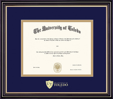 Framing Success Prestige Diploma Frame, Dbl Matted in Satin Black Finish, Gold Trim. Bachelors