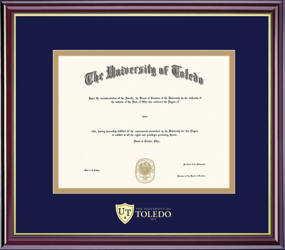 Framing Success Windsor Diploma Frame, Double Matted in Gloss Cherry Finish, Gold Trim. Bachelors