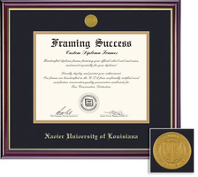 Framing Success Windsor Diploma Frame in a Gloss Cherry Finish and Gold Trim. Doctorate