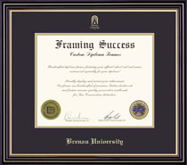 Framing Success Prestige MA Diploma Frame Double Matted in Satin Black Finish with Gold Accents