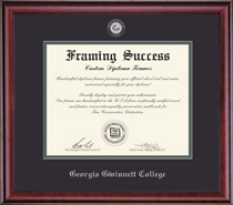 Framing Success Jefferson Diploma Frame, Dbl Mat in highgloss cherry finish w silver bevel