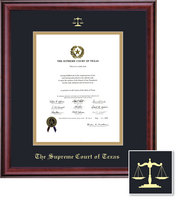 Framing Success Supreme Court Classic Diploma, Dbl Mat in rich burnished cherry finish
