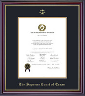 Framing Success Supreme Court Windsor Diploma, Dbl Mat in high gloss cherry finish & gold bevel