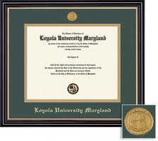 Framing Success Prestige Diploma Frame Double Matted in Satin Black Finish with Gold Trim