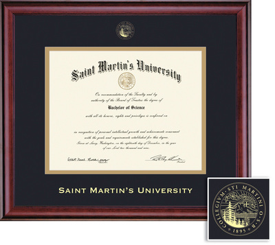 Sant Martins University Diploma with Black and Gold Double Mat in Classic
