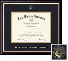 Sant Martins University Diploma with Black and Gold Double Mat in Prestige