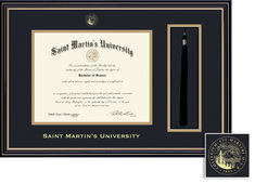 Framing Success Prestige Diploma Tassel Double Mat Satin Black finish Beautiful gold accents