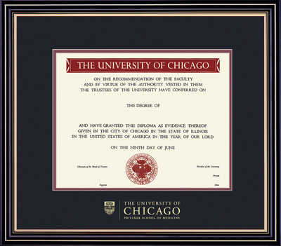 Framing Success Prestige MD Diploma, Double Mat in a satin black finish with beautiful accents