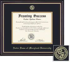 Framing Success Prestige BA Diploma Frame Double Matted in Satin Black Finish, Gold Trim