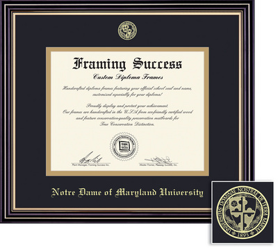 Framing Success Prestige MA Diploma Frame Double Matted in Satin Black Finish, Gold Trim