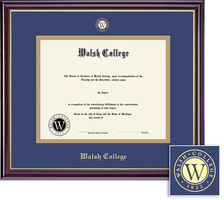 Framing Success Windsor Diploma Frame, Double Matted in Gloss Cherry Finish, Gold Trim. Masters