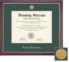 Framing Success Windsor Mdl Diploma Frame, Double Matted in Gloss Cherry Finish, Gold Trim