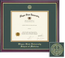Framing Success Windsor School of Medicine Double Matted Diploma Frame in Gloss Cherry Finish