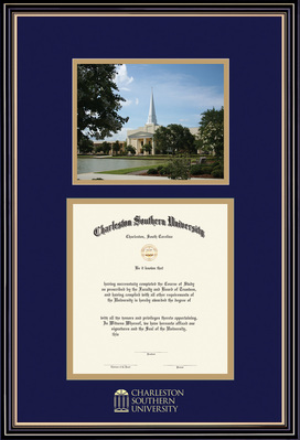 Diploma and Photo with Navy Blue and Gold Double Mat in Prestige