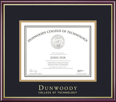 Framing Success Academic Double Matted Diploma Frame in Gloss Cherry Finish, Gold Trim, Slim Contour