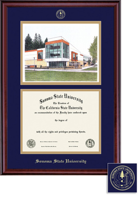 Classic Diploma Litho Frame, Eco Hardwood in a Burnished Cherry Finish