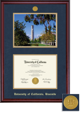 Framing Success Windsor Diploma Photo Medallion Frame, Dbl Matted in Gloss Cherry Finish, Gold Trim
