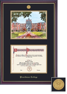 Framing Success Windsor DiplomaLitho Mdl Frame, Double Matted in Gloss Cherry Finish, Gold Trim
