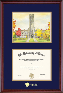 Framing Success Classic Diploma Frame, Double Matted in Burnished Cherry Finish. Bachelors, Litho