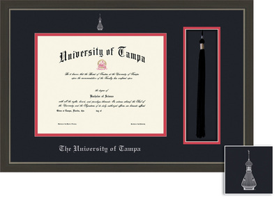 Framing Success Metro Diploma & Tassel Frame. Double Matted in a Modern Slate Gray, Pewter Finish