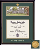 Framing Success Prestige Mdl BA Diploma Litho Frame. Double Matted in Satin Black Finish, Gold Trim
